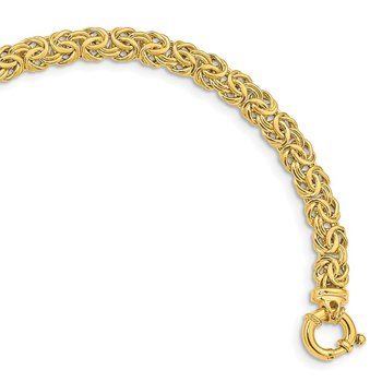 14k Fancy 7mm Flat Byzantine Bracelet