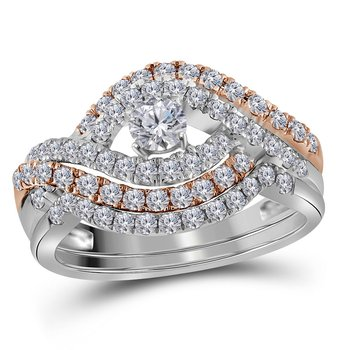 14kt White Gold Womens Round Diamond Rose-tone Crossover Bridal Wedding Engagement Ring Band Set 1.00 Cttw