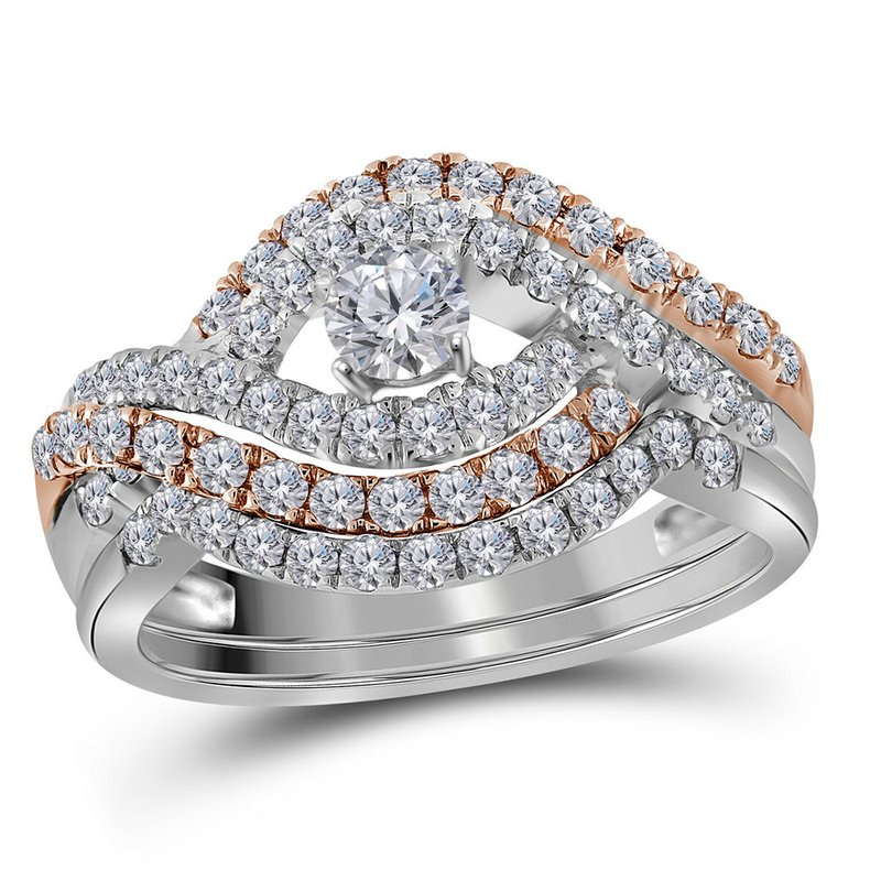 Gold-N-Diamonds, Inc. (Atlanta) 14kt White Gold Womens Round Diamond Rose-tone Crossover Bridal Wedding Engagement Ring Band Set 1.00 Cttw