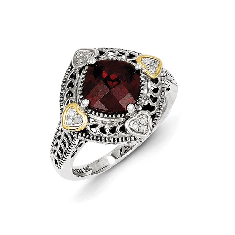 Shey Couture Sterling Silver w/14k Diamond & Garnet Ring