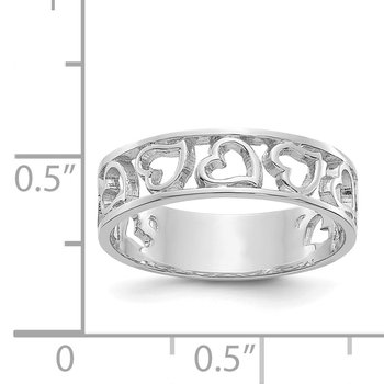 14k White Gold Heart Ring