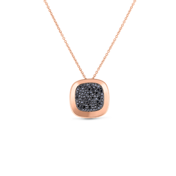 18KT GOLD SMALL PENDANT WITH BLACK DIAMONDS
