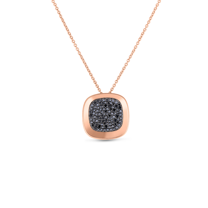 Roberto Coin 18Kt Gold Small Pendant With Black Diamonds
