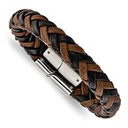 Chisel Stainless Steel Polished Black and Brown Leather 8.5in Bracelet