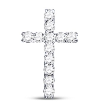 10kt White Gold Womens Round Diamond Roman Cross Pendant 1/5 Cttw