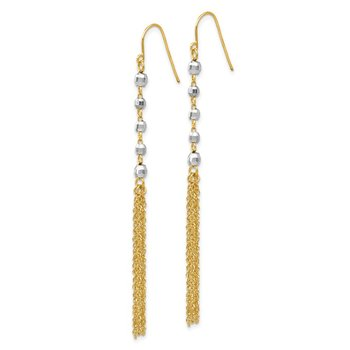 14K Two-tone Bead Tassel Earrings