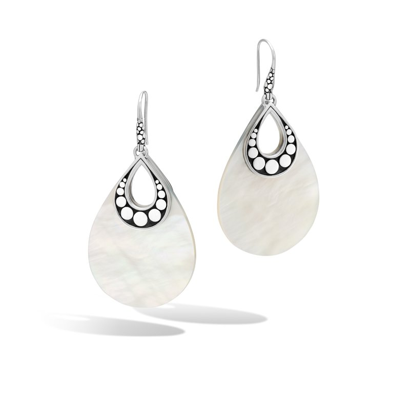 JOHN HARDY Dot Drop Earring in Silver with Mother of Pearl