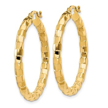 14k Polished/Textured Post Hoop Earring