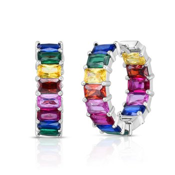 Silver Rainbow CZ Baguette Hoop Earrings