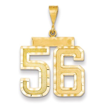 14k Large Diamond-cut Number 56 Charm