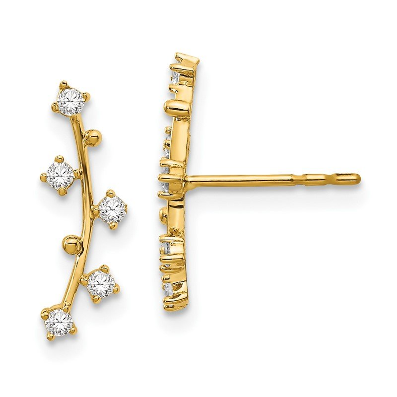 Quality Gold 14k Polished Bar CZ Post Earrings
