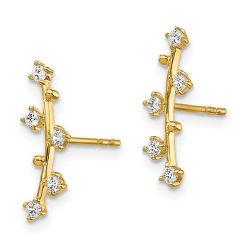 14k Polished Bar CZ Post Earrings