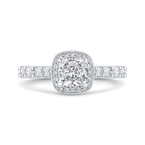 Carizza 14K White Gold Cushion Diamond Halo Engagement Ring (Semi-Mount)
