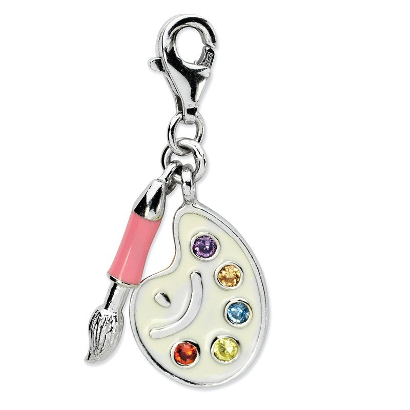 Arizona Diamond Center Collection Sterling Silver RH CZ Enamel Artist Palette w/Lobster Clasp Charm