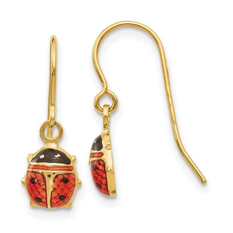 Quality Gold 14k Enameled Ladybug Dangle Earrings