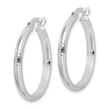 Sterling Silver Textured Polished 3x25mm Hoop Earrings