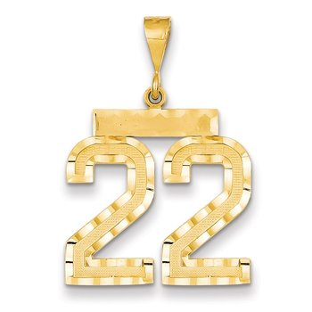 14k Large Diamond-cut Number 22 Charm