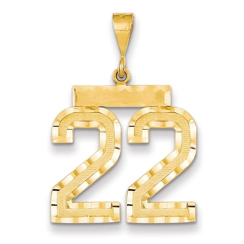 Quality Gold 14k Large Diamond-cut Number 22 Charm