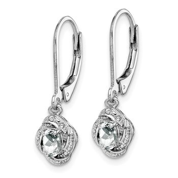 Sterling Silver Rhodium-plated Diam. & White Topaz Earrings