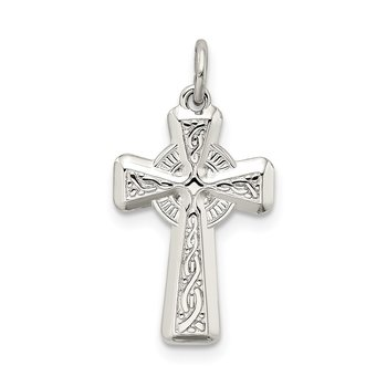 Sterling Silver Polished and Textured Celtic Cross Pendant