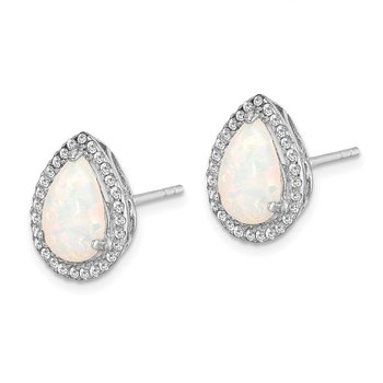 Sterling Silver Rhodium Polished Simulated Opal & CZ Post Earrings
