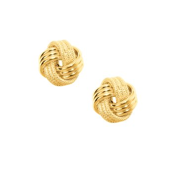 10K Gold Textured Love Knot Stud Earring