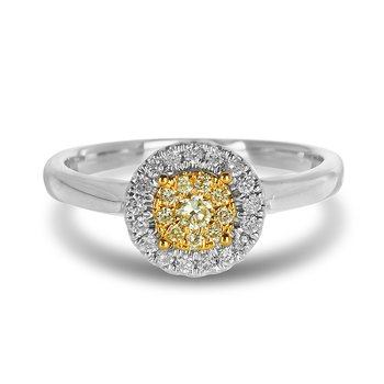 14K WY Gold Diamond Engagement Round Halo Ring in Split Prong Setting