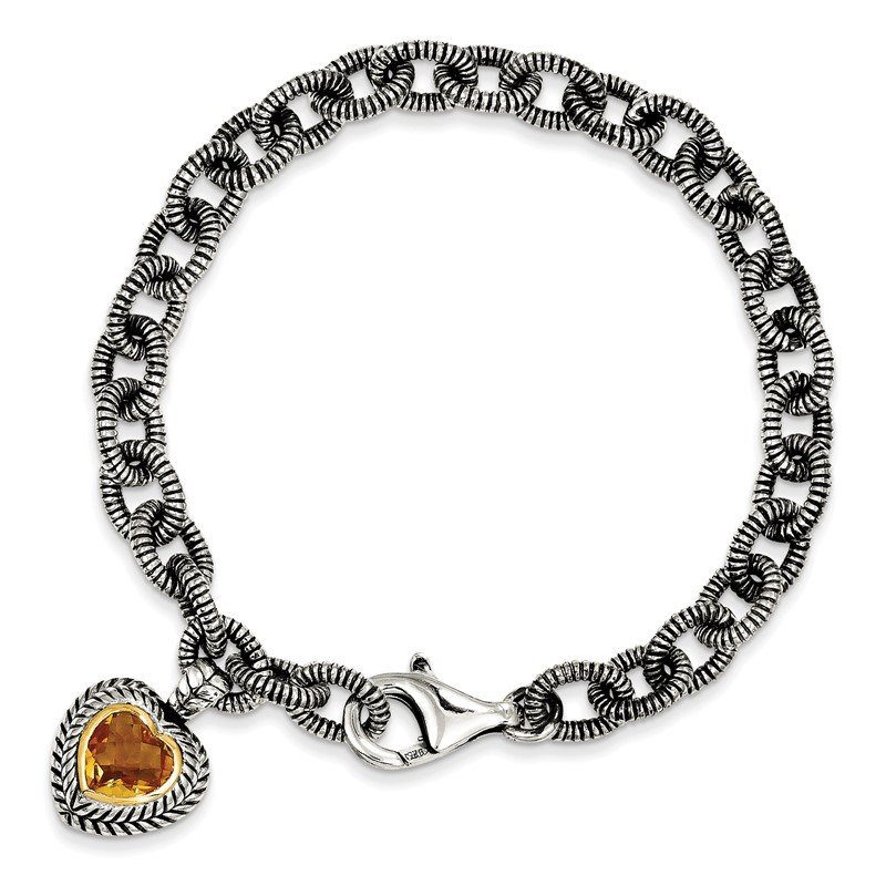 Quality Gold Sterling Silver w/14k Citrine Heart Bracelet