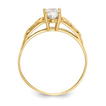 14k Madi K Synthetic White Spinel Ring