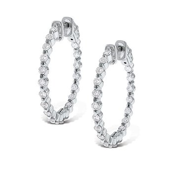 Diamond Inside Outside Hoop Earrings in 14k White Gold with 38 Diamonds weighing 1.15ct tw.