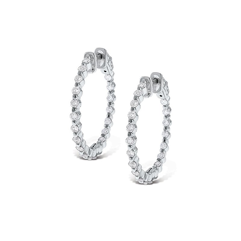 MAZZARESE Fashion Diamond Inside Outside Hoop Earrings in 14k White Gold with 38 Diamonds weighing 1.15ct tw.