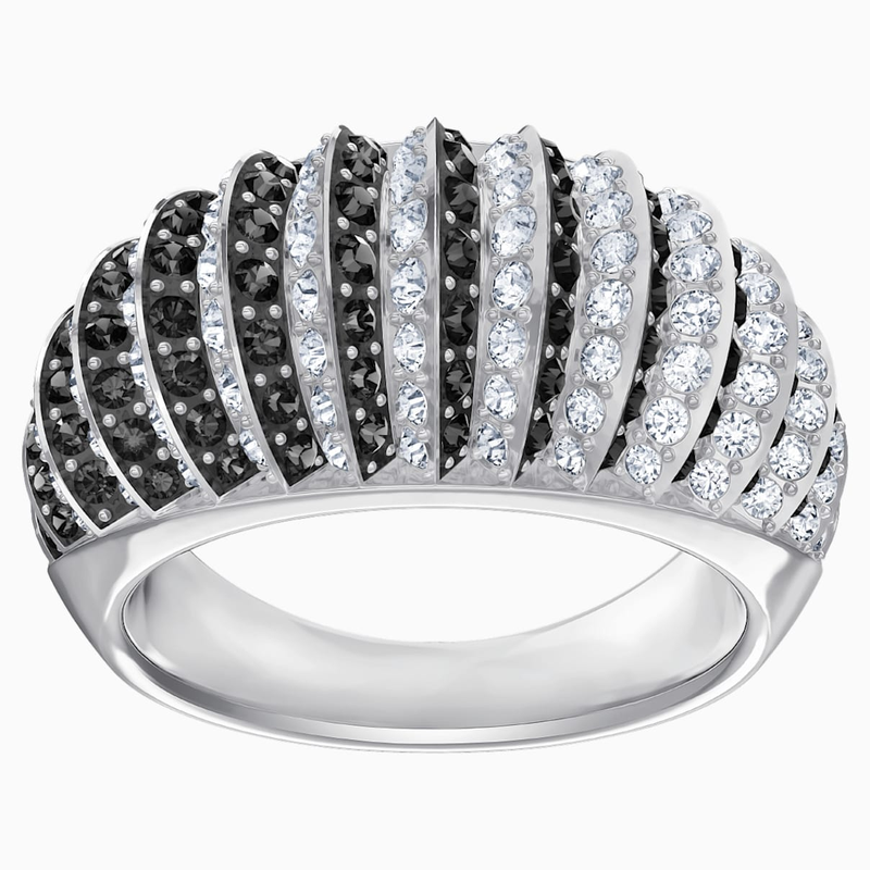 Swarovski Luxury Domed Ring, Black, Rhodium plating