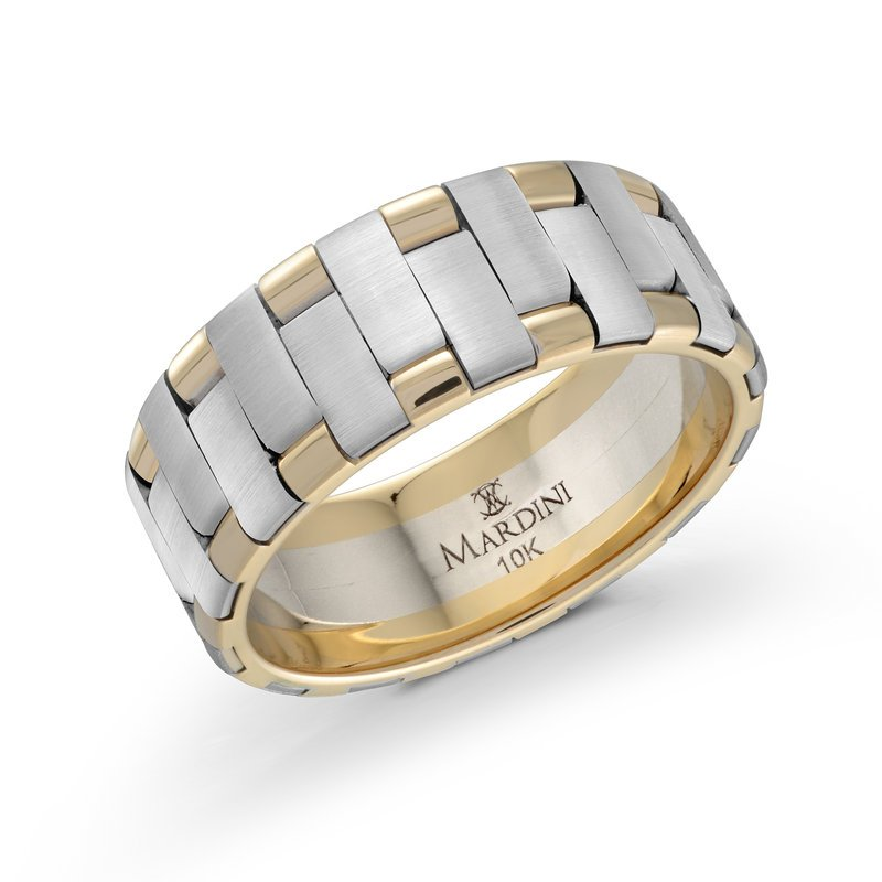 Mardini 8mm two-tone yellow and white gold intertwined band