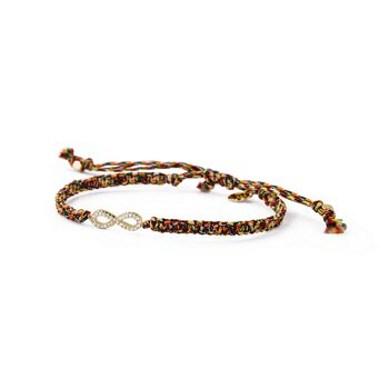Multicolour cord, 925 sterling silver 18kt gold plated.