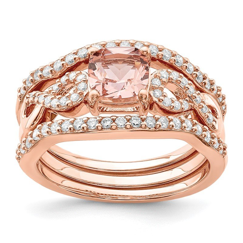 Quality Gold Sterling Silver Rose-tone 3 Piece Pink Crystal & CZ Ring Set