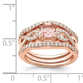 Sterling Silver Rose-tone 3 Piece Pink Crystal & CZ Ring Set