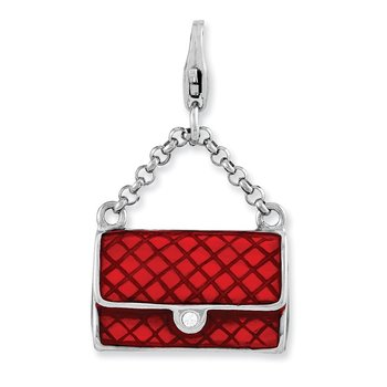 Sterling Silver Amore La Vita Rhodium-plated Enameled 3-D Purse Charm