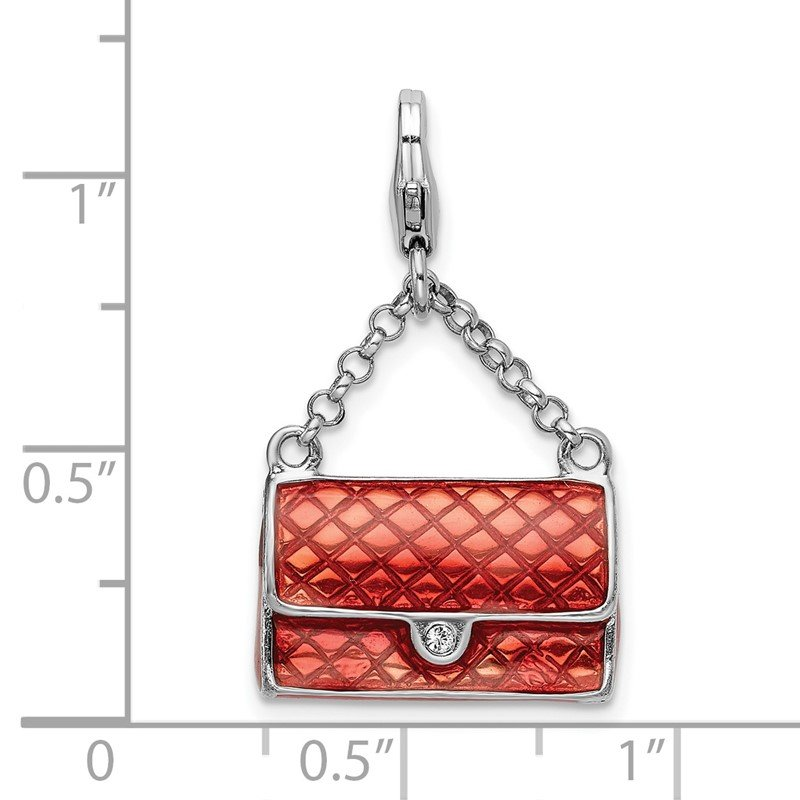 Quality Gold Sterling Silver Amore La Vita Rhodium-plated Enameled 3-D Purse Charm