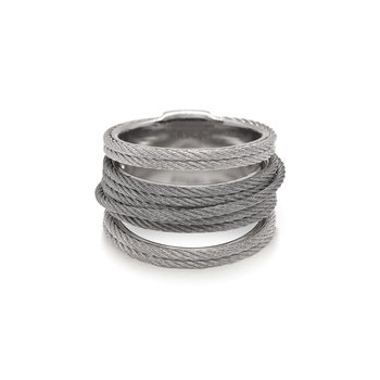 Grey & Steel Grey Cable Simple Stack Ring