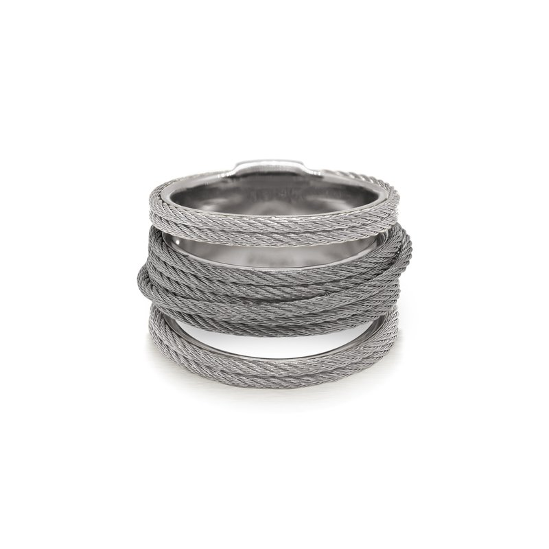 ALOR Grey & Steel Grey Cable Simple Stack Ring