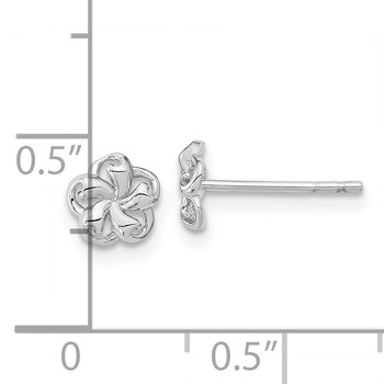 14k White Gold Polished Flower Post Earrings