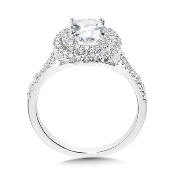 Oval-Shaped Double-Halo Split Shank Engagement Ring