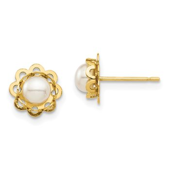 14K Madi K 4-5mm White Button FW Cultured Pearl Floral Post Earrings