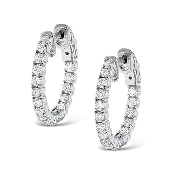Diamond Inside Outside Hoop Earrings in 14k White Gold with 34 Diamonds weighing 1.12ct tw.
