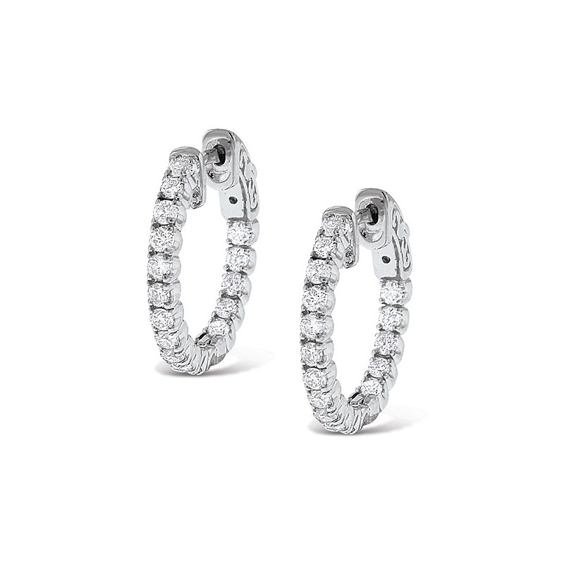 KC Designs Diamond Inside Outside Hoop Earrings in 14k White Gold with 34 Diamonds weighing 1.12ct tw.