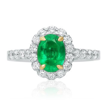 Tri-Colored Emerald Halo Ring