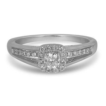 14K WG Square Halo Diamond Engagement Ring in Bridge Design and in Prong Setting