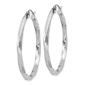 Sterling Silver Rhodium-plated 3x40mmTwisted Hoop Earrings