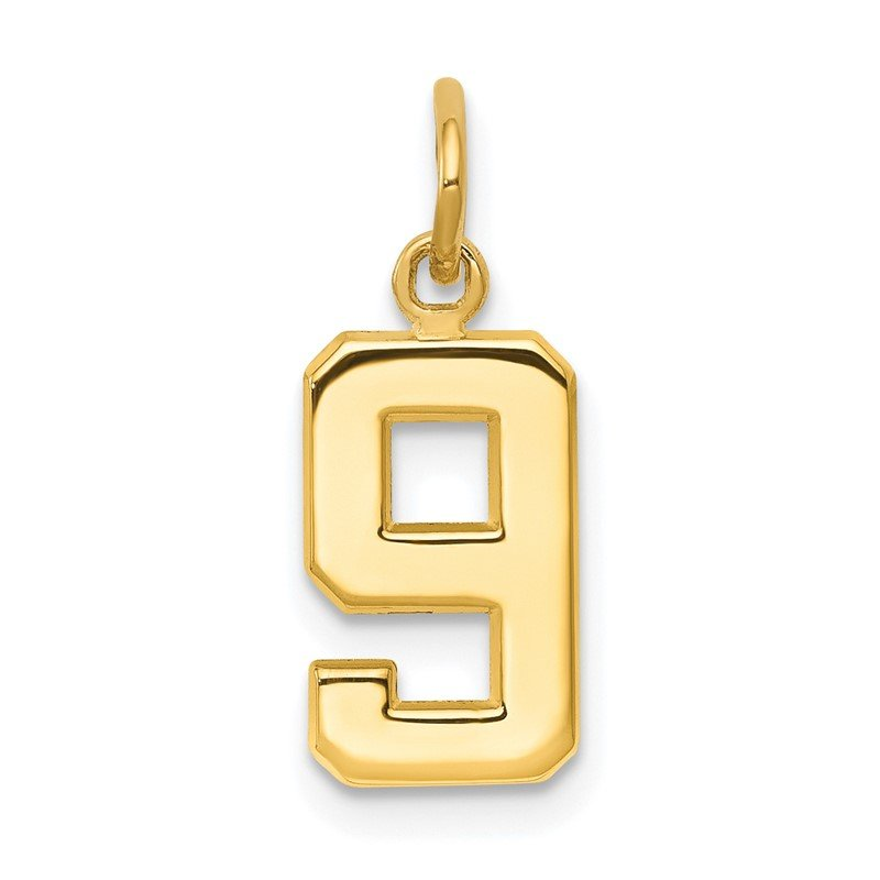 Quality Gold 14ky Casted Small Polished Number 9 Charm