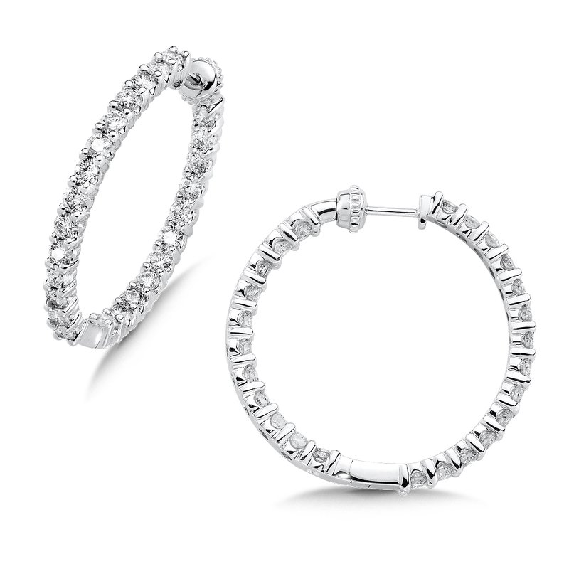 SDC Creations Pave set Diamond Reflection Hoops in 14k White Gold (1ct. tw.) GH/SI1-SI2